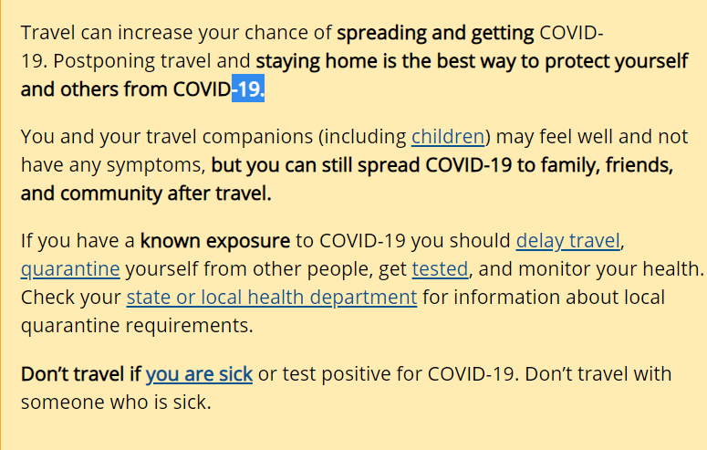 COVID Testing Requirements and Travel Recommendations from the CDC 1